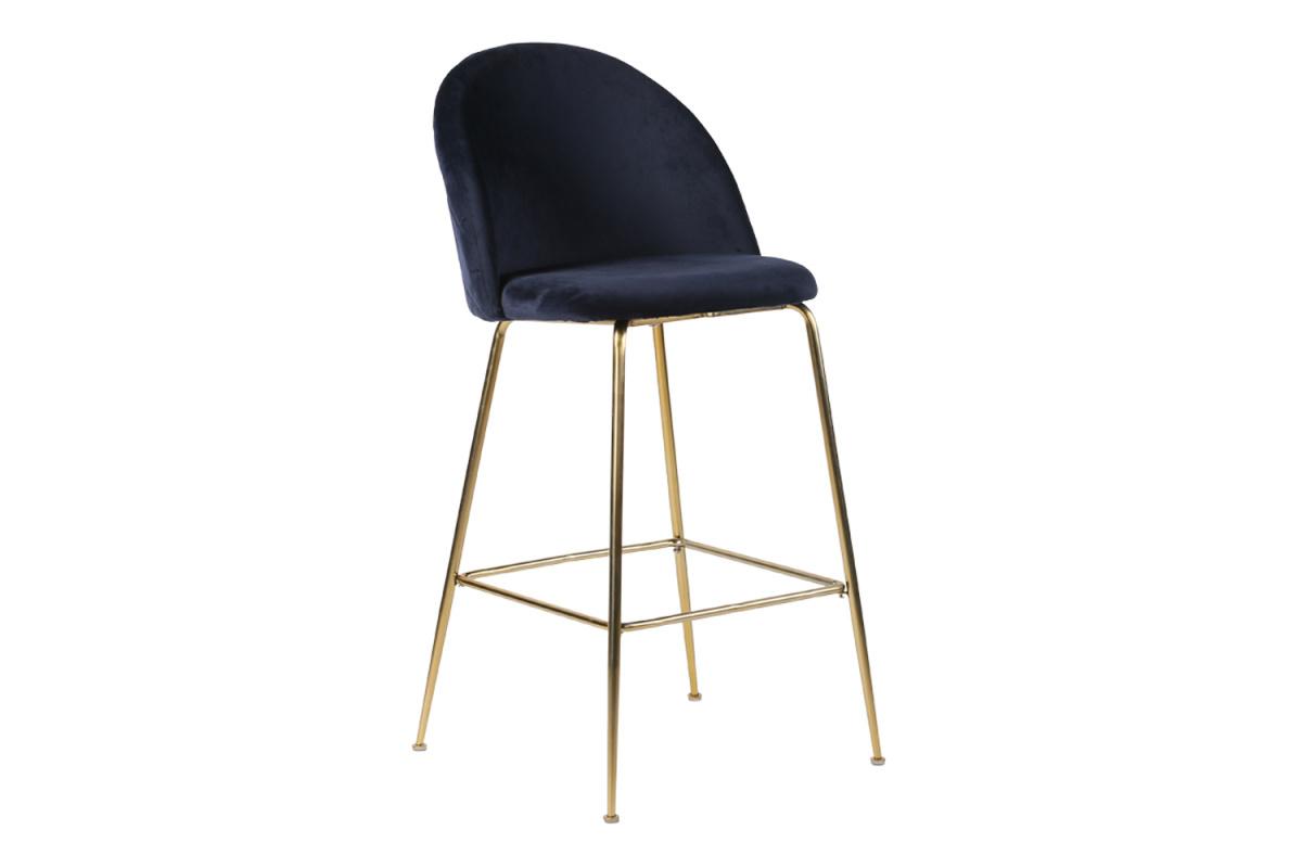 Stílusos bár szék Kristopher - kék / sárgaréz