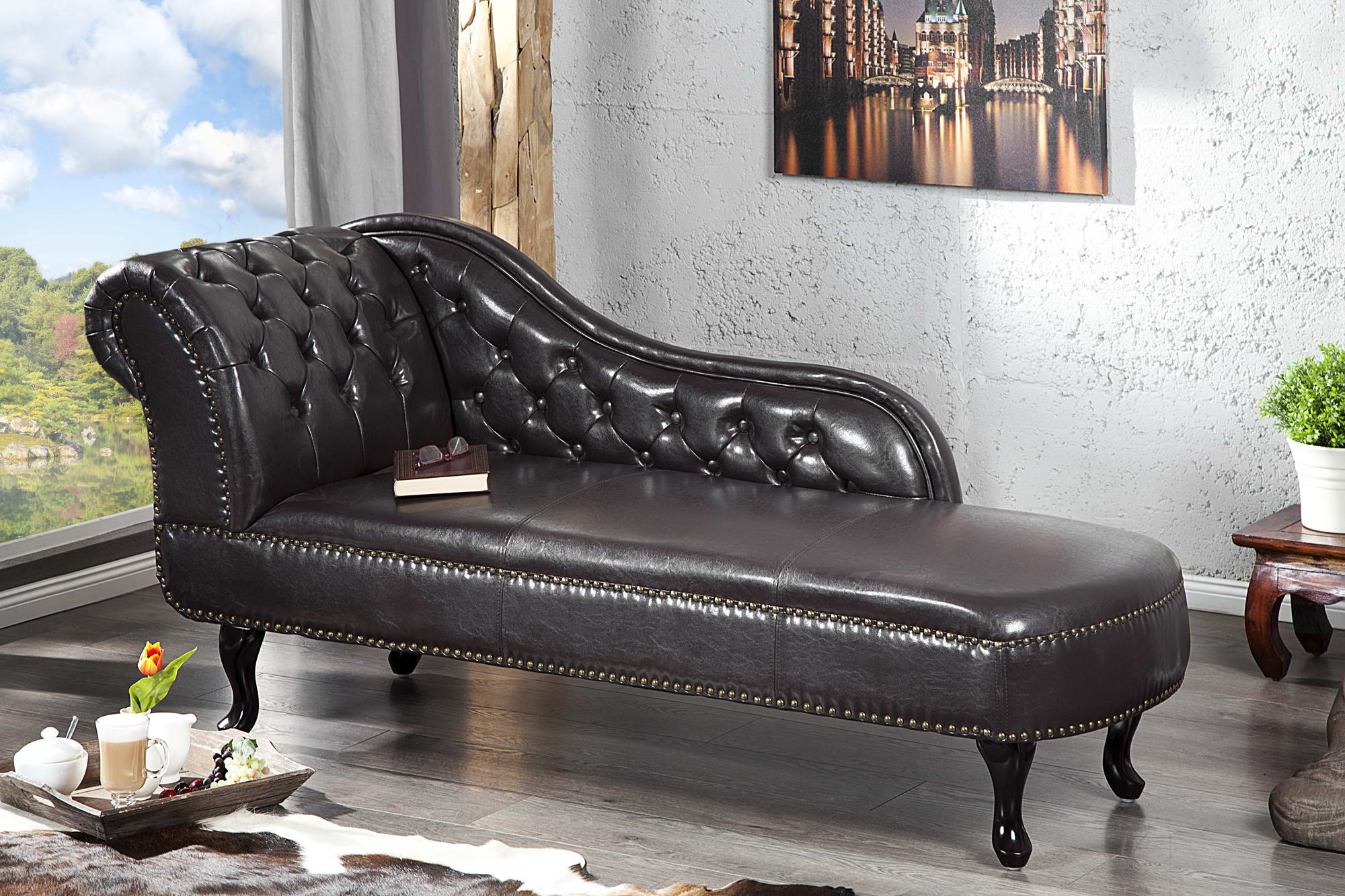 Luxus heverő Chesterfield Antik Look - sötét barna kávé