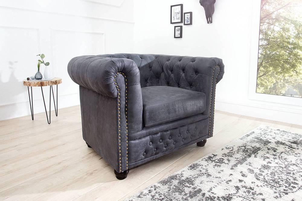 Luxus vintage fotel Chesterfield szürke