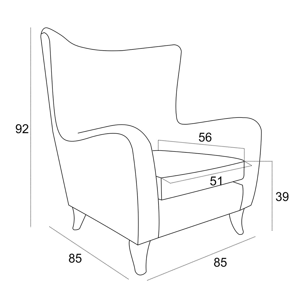Stílusos fotel Gilbert - türkiz kék Oronico 85