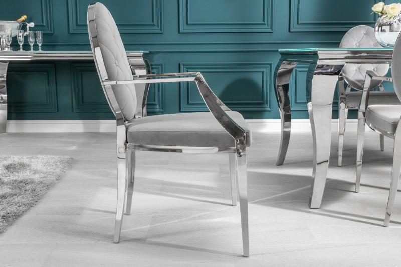 Stílusos szék Rococo II szürke / kéztámlával - raktáron SK-RP 1db
