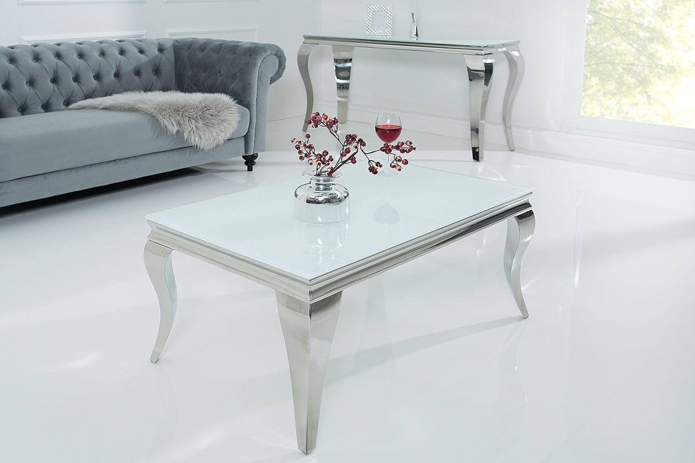 Stílusos dohányzóasztal Rococo fehér / ezüst