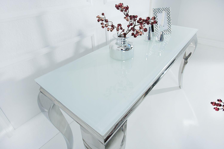 Stílusos konzolasztal Rococo 140cm fehér / ezüst