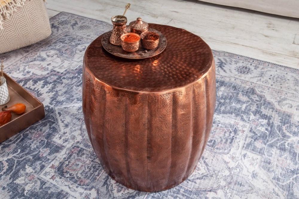 Stílusos oldalsó asztal Maroko 42 cm rézszínű