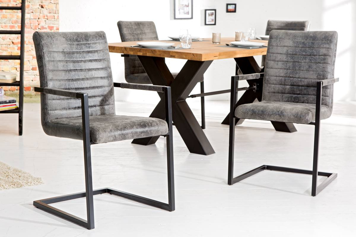Stílusos szánkótalpas szék Imperium, vintage szürke