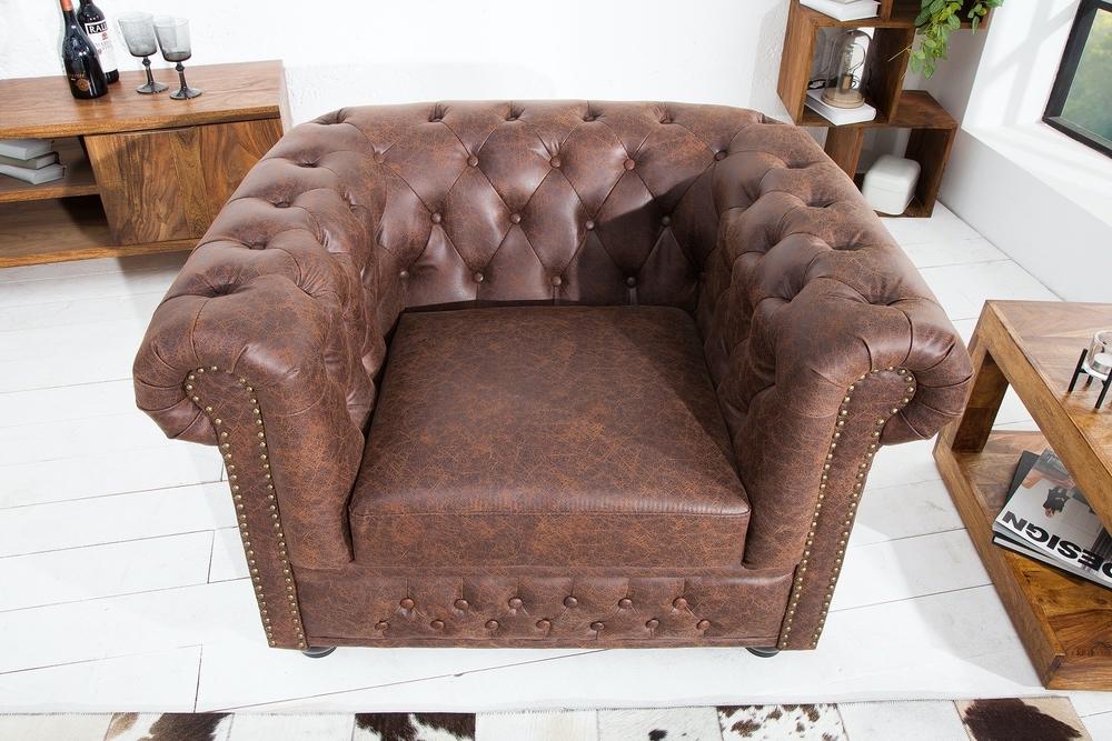 Luxus vintage fotel Chesterfield II bőr