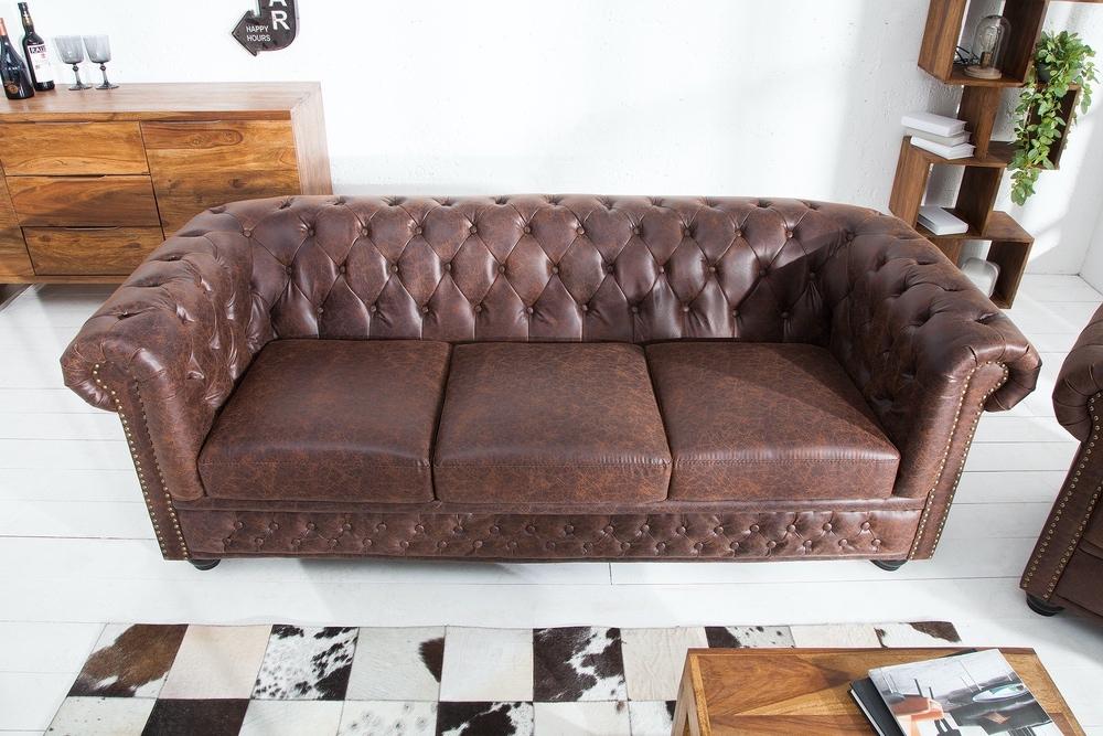 Hármas ülőgarnitúra Chesterfield Vintage II bőr