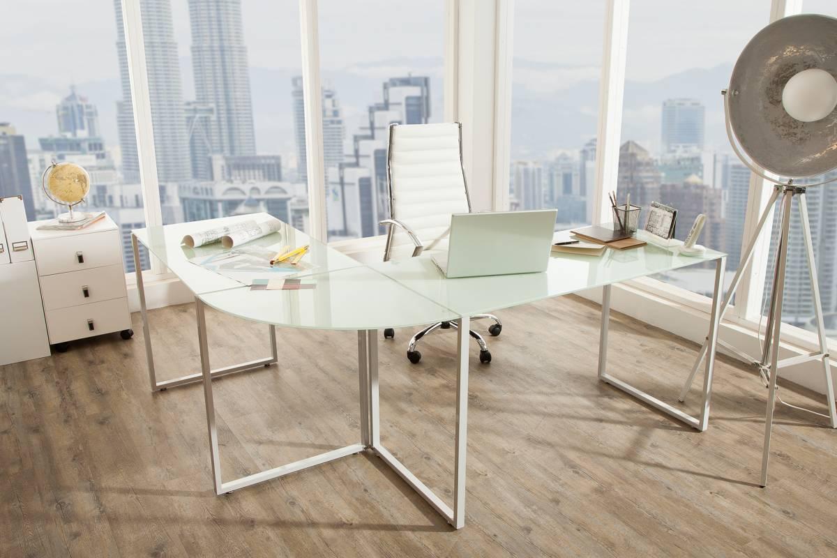 Sarok íróasztal Atelier üveg / fehér