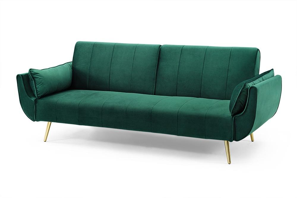 Nyitható ülőgarnitúra Amiyah / 215 cm - zöld bársony / arany - Raktáron RP
