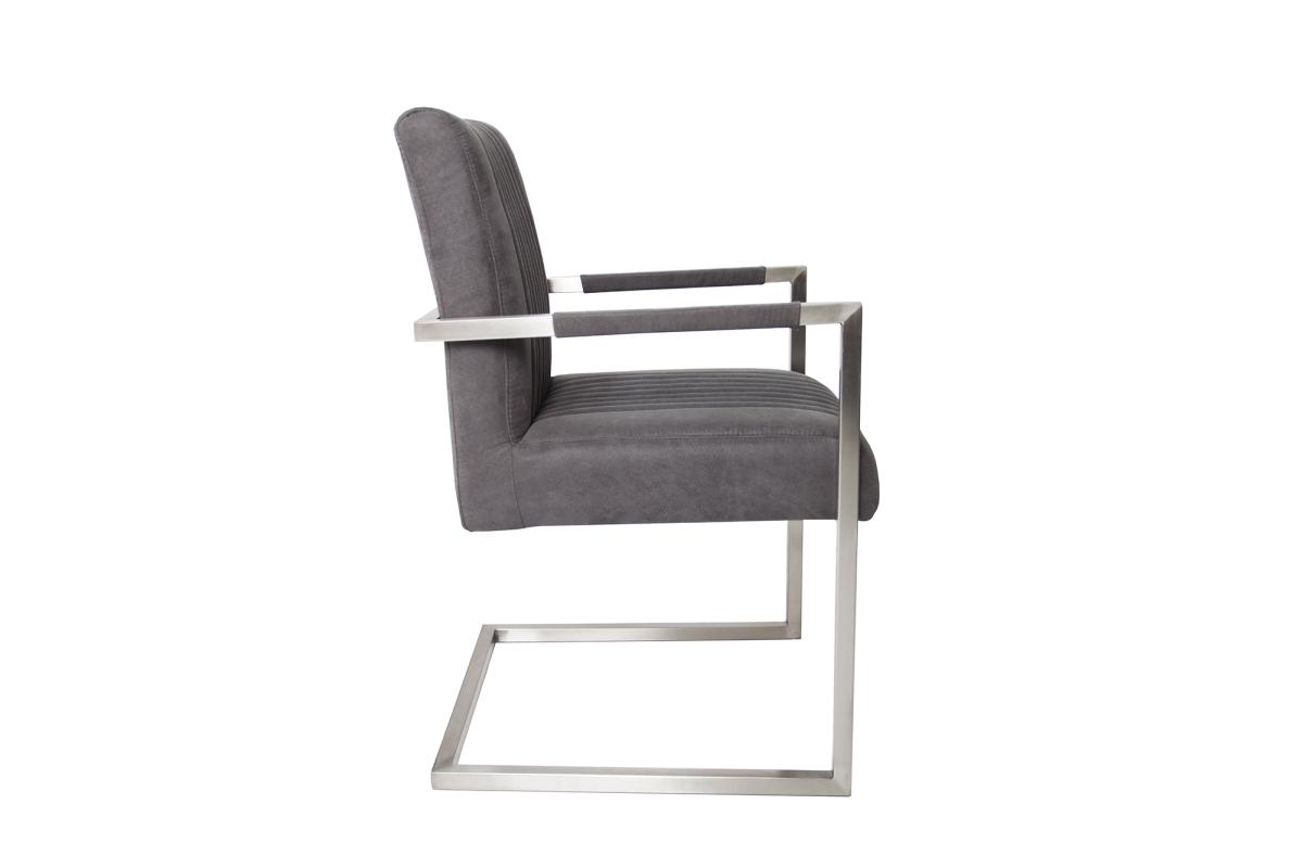Szánkótalpas szék Boss kéztámlával, szürke antik