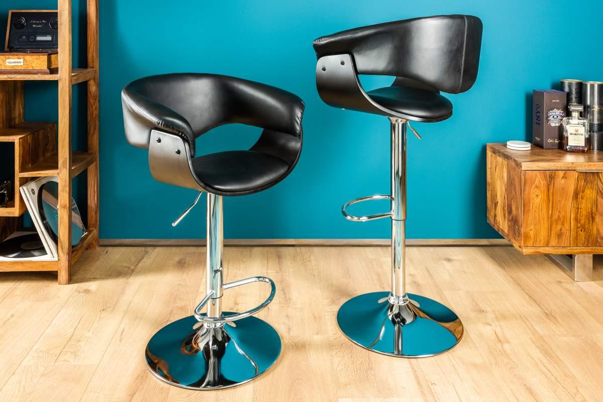 Stílusos bár szék Dane fekete-ezüst