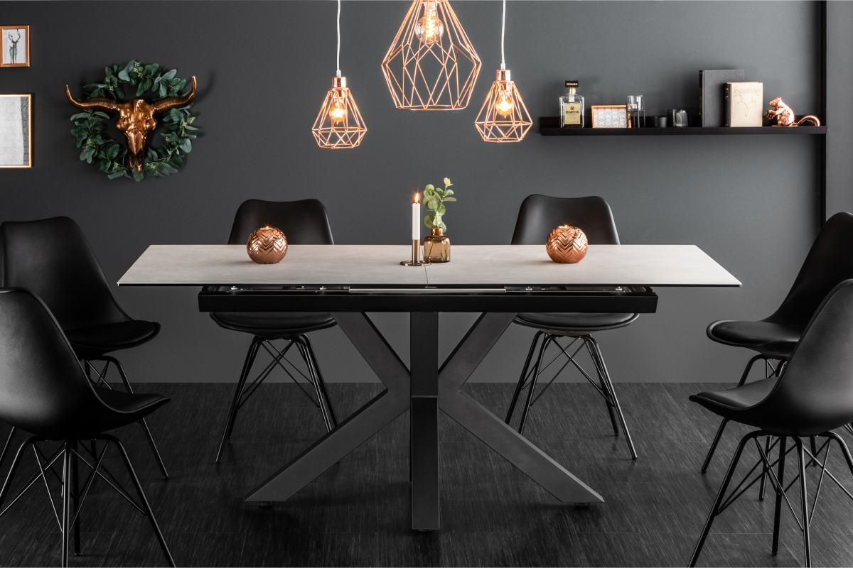 Stílusos étkezőasztal Zariah, 180-225 cm beton kinézet