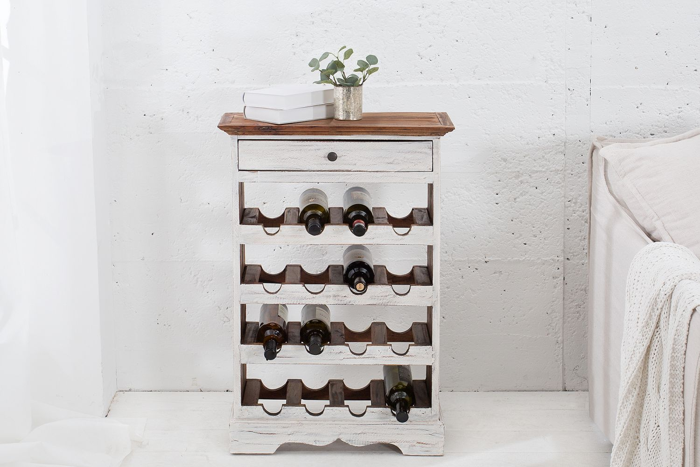 Elegáns bortartó állvány Provence / fehér - mahagóni
