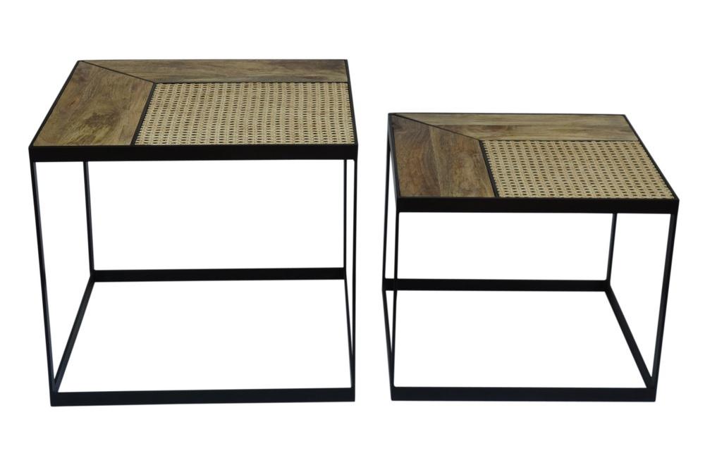 Stílusos szögletes dohányzóasztal szett Trace 2 ks mangófa
